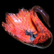 Mid - Century Modern Canadian Evangeline Canuck Pottery Red Drip Glazed Swan Figurine Candy Dish