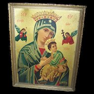 Vintage Framed Religious Icon Print  on Board Virgin Mother & Child Orthodox Icons of Theotokos Theme