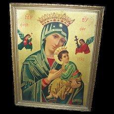 Vintage Framed Religious Icon Print  on Board Virgin Mother & Child Orthodox Icons of Theotokos Theme