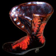 A Vintage Collectible  Canuck Pottery Red High Heel Boot Figurine