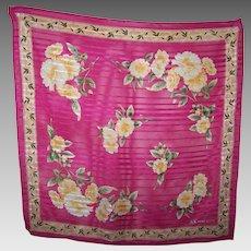 Designer Signed  AK Anne Klein Small Silk Scarf  Floral Rose Pattern / Theme