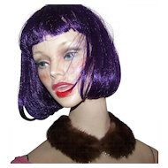 A Deco Era  Natural Ranch Brown  Mink Collar with Faux Pearls and Rhinestones