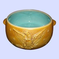 Gently Used  Pottery Eagle Star Arrow Themed Cookware  Pot with Handles