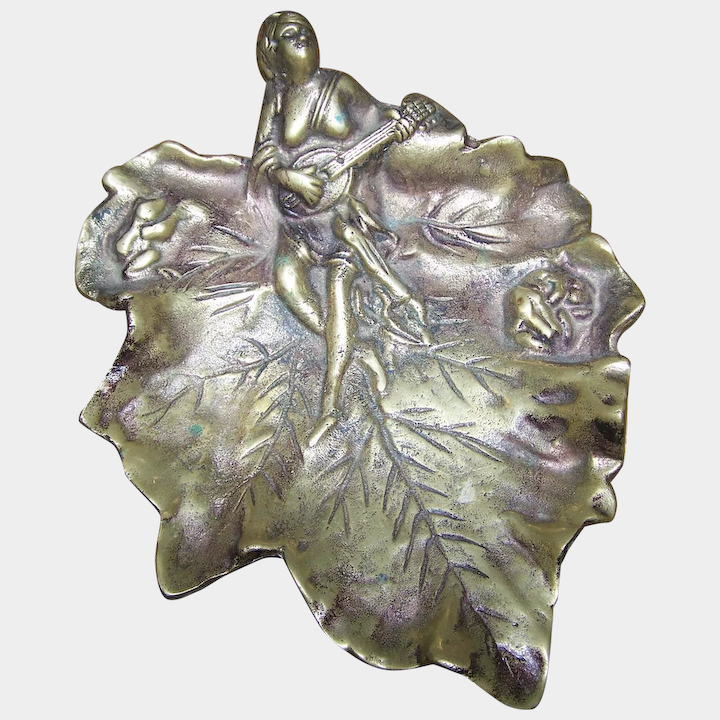 Lovely Brass Calling Card Decorative Tray Leaf Frog Maiden In Song Theme