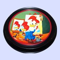 Happy Art Woody's Triple Self Portrait Collector Plate & Holder Walter Lantz  Woody Woodpecker