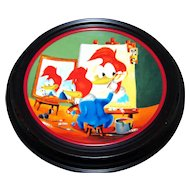 Happy Art Woody's Triple Self Portrait Collector Plate & Holder Walter Lantz  Woody Woodpecker