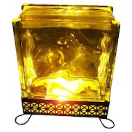 Mid-Century Modern Glass Block TV or Table Lamp with Metal Base Home Decor Accent