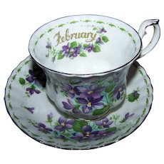 Royal Albert Bone China Flower of the Month Series Violets February Cup Saucer Set