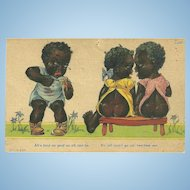 """A Sweet Vintage Humour Black Americana Postcard """"Ah's Bout As Mad As Ah Can Be"""""""