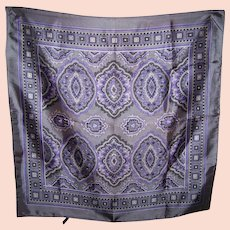 Lovely Vintage  Geometric Paisley Themed Scarf Superieure Acetate Satin Acetate