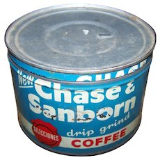 Vintage Advertising Tin Can New Chase & Sanborn Drip Grind COFFEE