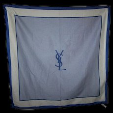 Vintage Designer YSL Yves Saint Laurent 100% Cotton Blue & White  Variation Stripe Art Scarf