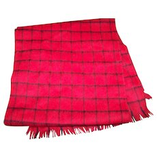 Soft 100 % Pure Wool Black & Red Checkered Striped Long Fringed Fashion Scarf VRINDA