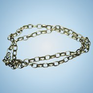 Lovely Vintage 34 Inch Brass Linked Costume Jewellery / Jewelry Chain Necklace