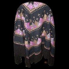 Beautiful Large Fringe Fringed Ethnic Tribal Shawl Wrap