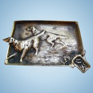 A Collectible Vintage Hunting Dogs  Dog   Brass Metal Ashtray