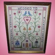 Historical Framed Nova Scotia  CANADA Cross Stitch Wedding Sampler 1937
