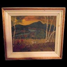 Hand Painted Folk Nova Scotia Canada Art Hunting Scene Artist Signed Dated