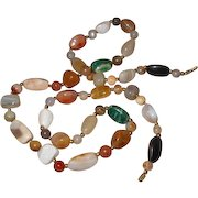Long Agate Polished Stone Beagers Bead Necklace  Multi Color Beads