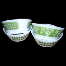 4 Various Mid-Century Milk Glass Bowls Dishes Anchor Hocking Fire King Made in USA