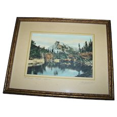 Vintage Framed Tinted Photograph Photography Photo Mount Rundle Banff Alberta Canada
