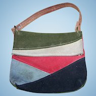A Gently  Used  Young Ladies  Small Vintage Bag Pouch Suede Leather Patchwork