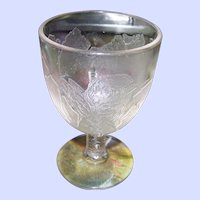 EAPG  Manganese  Glass Frosted Chick Broken Egg Chicken Foot  Easter Egg Cup Eggcup
