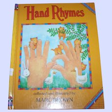 """Vintage Hard Cover Children's Book """" Hand Rhymes """" Collected and Illustrated by Marc Brown"""