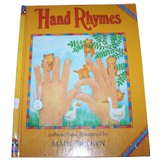 "Vintage Hard Cover Children's Book "" Hand Rhymes "" Collected and Illustrated by Marc Brown"