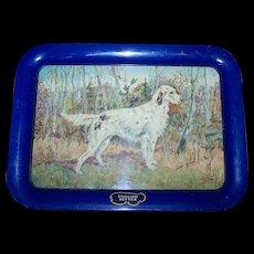 A Vintage Tin Litho Metalware Serving Tray Irish Setter Dog by Ole Larsen