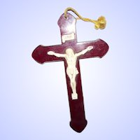 Early Red & Creme Plastic Religious INRI Cross Crucifix 5 1/2 inches Made In Canada RUDY