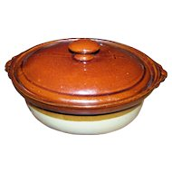 Brown Oval Glazed Stoneware Covered Casserole  Baking Dish Pot
