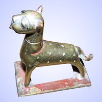 Old  Cast Brass Metalware  Middle Eastern Dog Ointment Holder Figurine Missing Insert