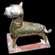 Old  Cast Brass Metalware  Middle Eastern Dog Ointment Holder Figurine Missing Insert