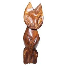 Mid-Century  Tiki Cat  Figurine Alii Woods of Honolulu Genuine Monkey Pod Wood Carved 1960s Era