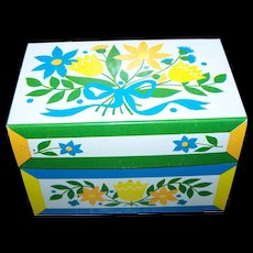 Tin Litho  Syndicate Mfg Recipe Box Circa  1960's Vintage Americana Pennsylvania Dutch Stencil Style