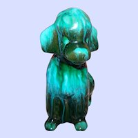 BMP Blue Mountain Pottery Poodle Puppy Dog Figurine in Green Mid Century Modern Era
