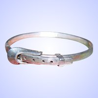 A Vintage  Sterling Silver 925  Belt Buckle Hinged Bangle Bracelet Hecho En Mexico TR-68 925