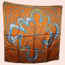 Simply WOW  Lady Heritage Small  Scarf Silky Feel  Polyester C. 1960's  Japan Psychedelic Print