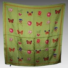 Lovely Large Silk Fashion Scarf Designer Signed Echo Butterfly Flower Fruit Theme