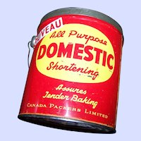 Domestic Shortening Advertising Tin Litho Pail Can Bucket  Empty 5 LBS size Canada Packers