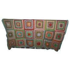 Lovely Heavy Large Granny Square Blanket
