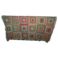 Lovely Heavy Large Granny Square Blanket