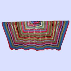 Colorful and Cheerful Hand Crafted Crochet Coverlet Spread Blanket Op Art Style