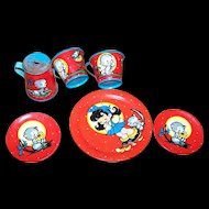 Vintage Tin Litho Dishes Collectible  Toy Collectible  Child's Tea set Kitty Cat Flowers Little Girl