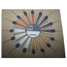 Sand Painting  Sun & Eagle Artist D. Begay Home Decor Accent