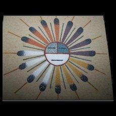 Sand Painting  Sun & Eagle Artist D. Begay Home Decor Accent