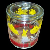 Mid-Century Anchor Hocking Glass Canister Storage Jar Bunny Lamb Chick Flower Theme CHARMING