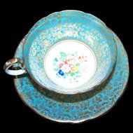 Stunning Vintage AYNSLEY Bone China Tea Cup Saucer Set ENGLAND Heavy Gold Decoration Floral Theme