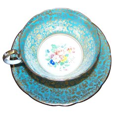 Stunning Vintage AYNSLEY Bone China Tea Cup Saucer Set ENGLAND Heavy Gold Decoration Floral Theme